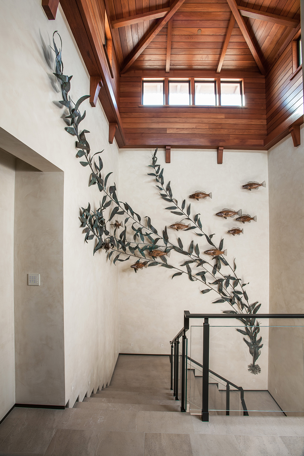 large metal wall fish sculpture